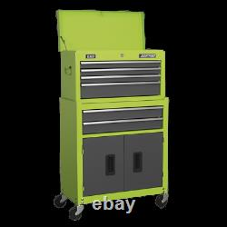Sealey Topchest & Rollcab Combination 6 Drawer with Ball Bearing Slides Hi-Vis