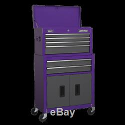 Sealey Topchest & Rollcab Combination 6 Drawer with Ball Bearing Slides Purple