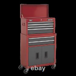 Sealey Topchest & Rollcab Combination 6 Drawer with Ball Bearing Slides Red