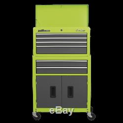 Sealey Topchest&Rollcab Combination 6Drawer Ball Bearing Slides-HiVis Green/Grey