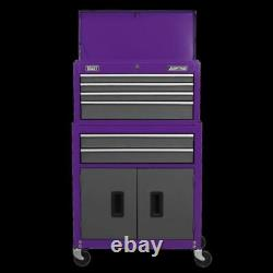 Sealey Topchest & Rollcab Combo 6 Drawer with Ball-Bearing Slides Purple/Grey