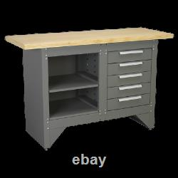 Sealey Workbench with 5 Drawers Ball Bearing Slides Heavy-Duty Garage