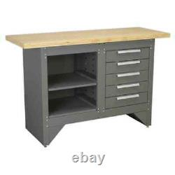 Sealey Workbench with 5 Drawers Ball Bearing Slides Heavy-Duty Garage Worksho