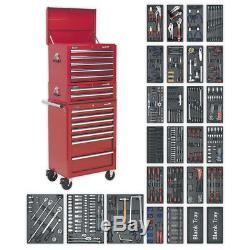 Tool Chest Combination 14 Drawer with Ball Bearing Slides Red & 1179pc Tool Kit
