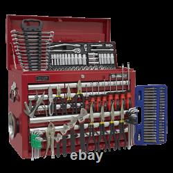 Toolbox Topchest 10 Drawer with Ball Bearing Slides RED 140pce TOOLKIT