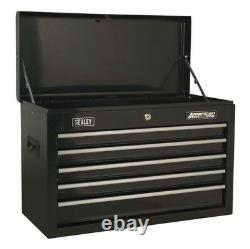 Topchest 5 Drawer With Ball Bearing Slides Black From Sealey Ap225b Syd
