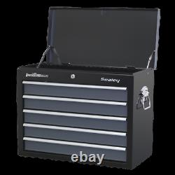 Topchest 5 Drawer with Ball Bearing Slides Black/Grey Sealey AP3505TB