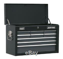 Topchest 9 Drawer With Ball Bearing Slides Black/grey From Sealey Ap2509b Syd