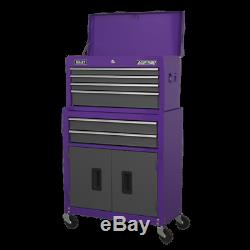 Topchest & Rollcab Combination 6 Drawer with Ball Bearing Slides Purple/Grey A