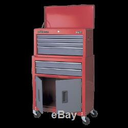 Topchest & Rollcab Combination 6 Drawer with Ball Bearing Slides Red/Grey AP22