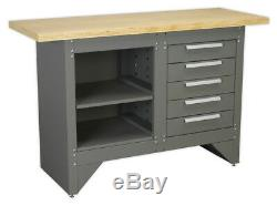 Workbench With 5 Drawers Ball Bearing Slides Heavy-duty From Sealey Ap2030bb Syd